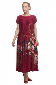"""Платье """"Олси"""" 1605037/1 ОЛСИ (Красный/цветы)"""