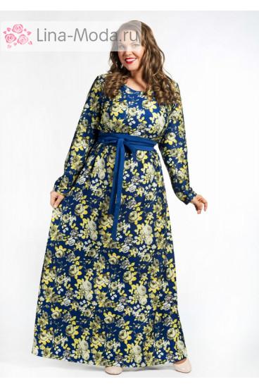 """Платье """"Цветочная Поляна"""" 1579-090 Грация Стиля (Василёк)"""